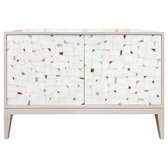 Customizable Milano Gray Buffet in White Terrazzo Glass Mosaic by Ercole Home