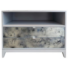 Customizable Milano Mystic Gray Nightstand with Erglomise Glass by Ercole Home