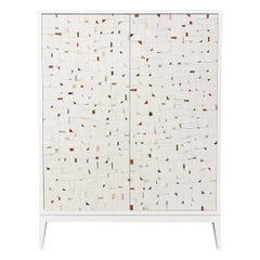 Customizable Milano White Bar Cabinet in Terrazzo Glass Mosaic by Ercole Home