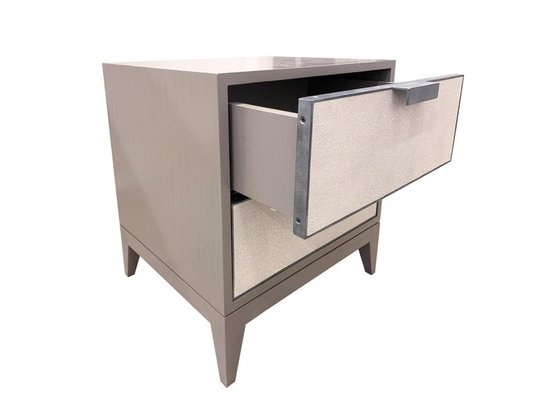 Modern Customizable Milano White Shagreen Leather Nightstand by Ercole Home For Sale