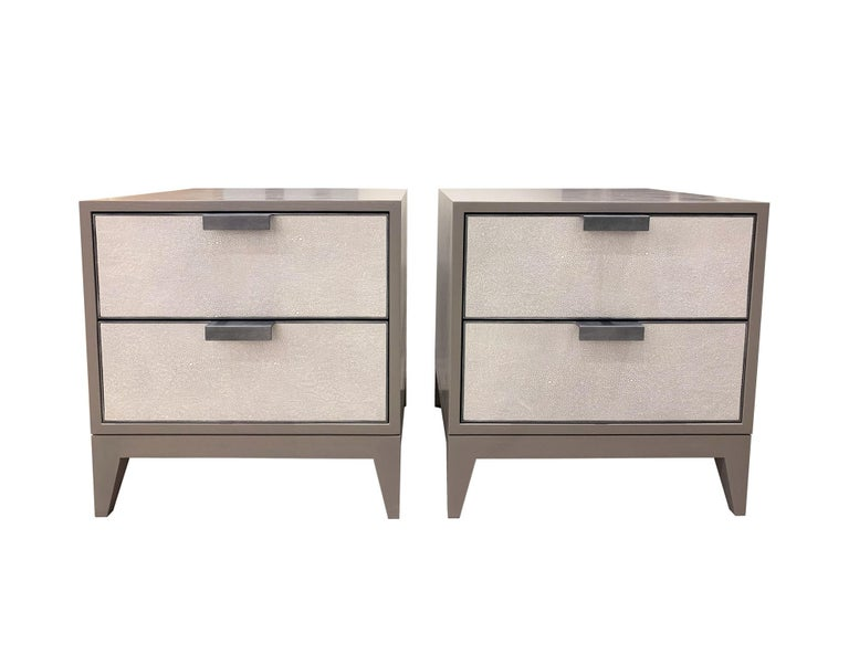 American Customizable Milano White Shagreen Leather Nightstand by Ercole Home For Sale