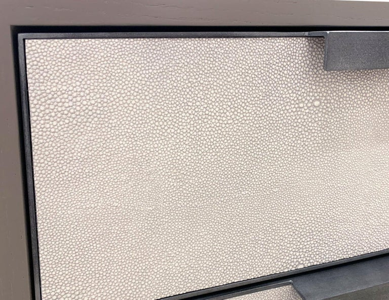 Customizable Milano White Shagreen Leather Nightstand by Ercole Home In New Condition For Sale In Brooklyn, NY