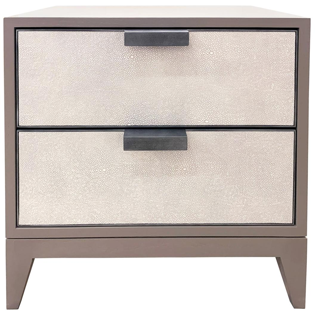 Customizable Milano White Shagreen Leather Nightstand by Ercole Home