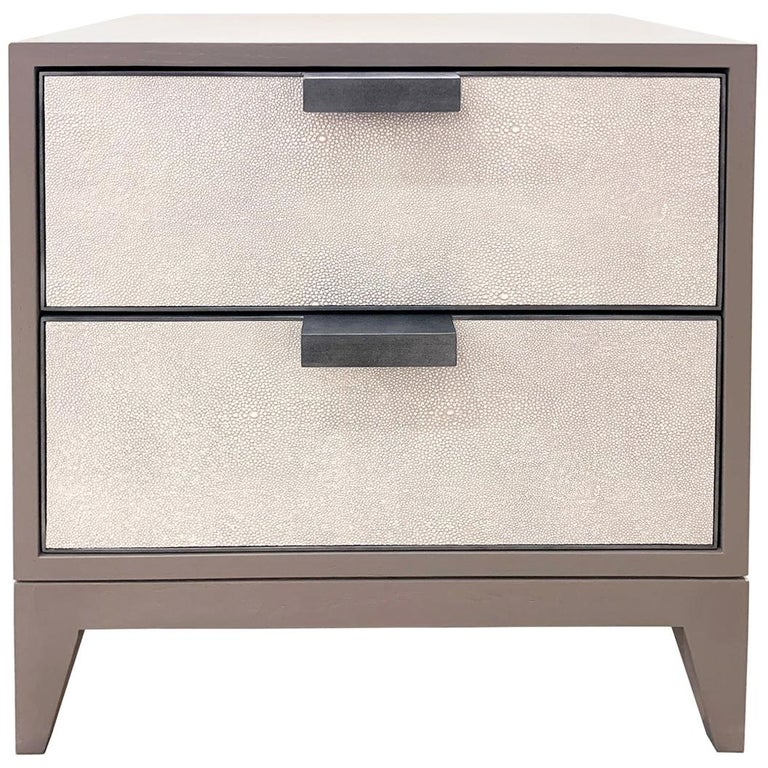 Customizable Milano White Shagreen Leather Nightstand by Ercole Home For Sale