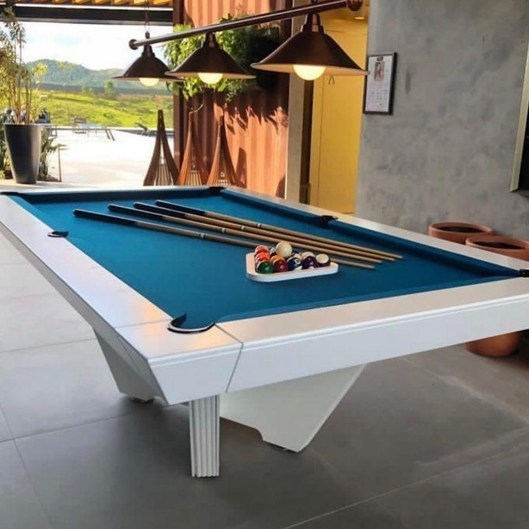 """Modern design for a indoor game. Straight lines and innovative """"X"""" base make it the highlight in any environment. Friezes on the corner of the pockets further value the piece.  Customization is our specialty. Our pool tables can be fully"""