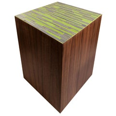 Customizable Natura Brown Walnut Stool in Channel Glass Mosaic by Ercole Home