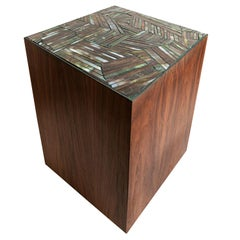 Customizable Natura Brown Walnut Stool in Facets Glass Mosaic by Ercole Home