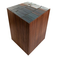Customizable Natura Brown Walnut Stool in Fragments Glass Mosaic by Ercole Home