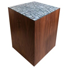 Customizable Natura Brown Walnut Stool in Plume Glass Mosaic by Ercole Home