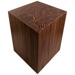 Customizable Natura Brown Walnut Stool in Sequoia Glass Mosaic by Ercole Home