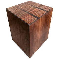Customizable Natura Brown Walnut Stool in Sycamore Glass Mosaic by Ercole Home