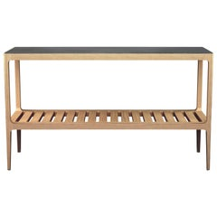 Customizable Oak Console Table with Silver Oxide Patina by Munson Furniture