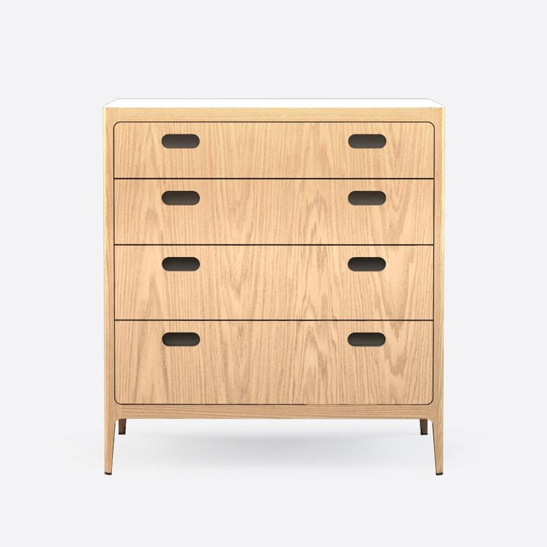 Mid-Century Modern Customizable Oak Dresser from Munson Furniture with Blackened Brass Top For Sale