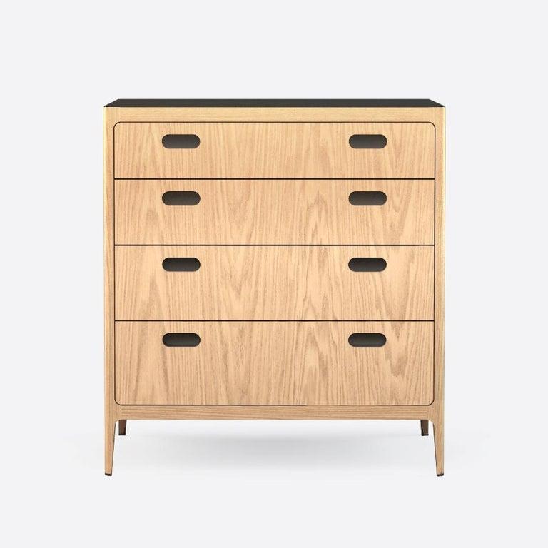 Mid-Century Modern Customizable Oak Dresser from Munson Furniture with Brass Top