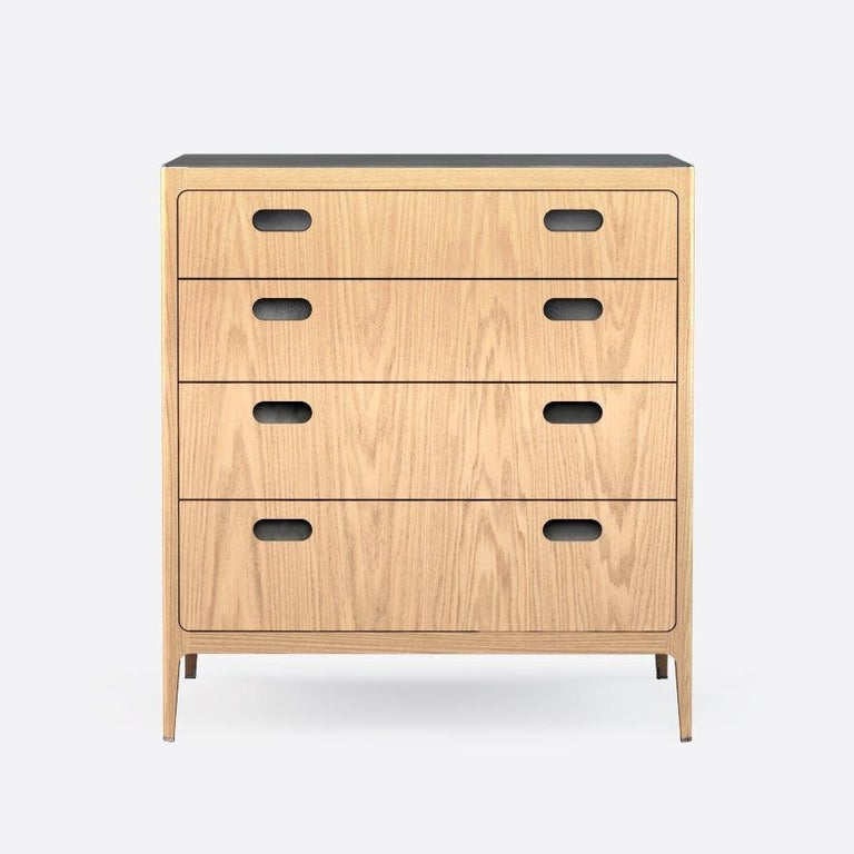 American Customizable Oak Dresser from Munson Furniture with Brass Top For Sale
