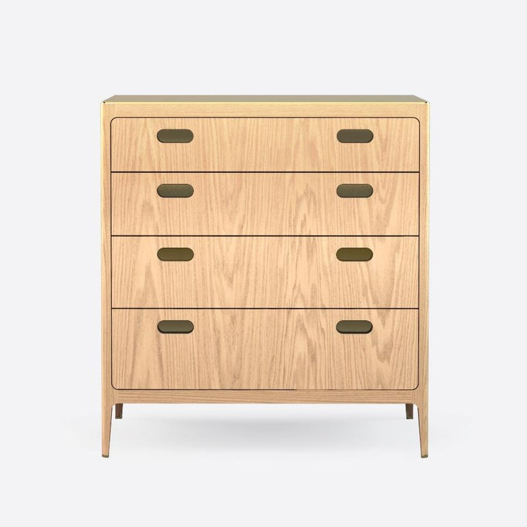 Mid-Century Modern Customizable Oak Dresser from Munson Furniture with Silver Oxide Brass Top For Sale