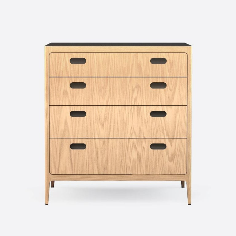 American Customizable Oak Dresser from Munson Furniture with Silver Oxide Brass Top For Sale
