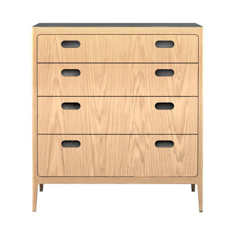 Customizable Oak Dresser from Munson Furniture with Silver Oxide Brass Top For Sale