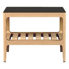 Customizable Oak Side Table with Blackened Brass Top by Munson Furniture