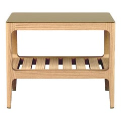 Customizable Oak Side Table with Brass Top by Munson Furniture