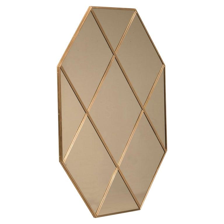 Customizable Octagonal Brass Frame Window Look Bronze Glass For Sale