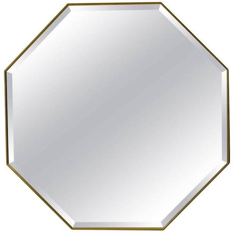 Customizable Octagonal Brass Frame Window Look Bronze Glass For Sale 13