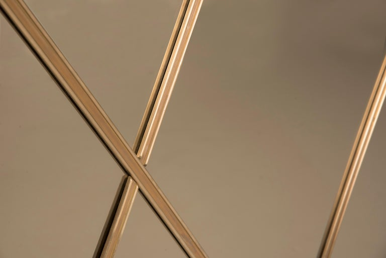 Customizable Octagonal Brass Frame Window Look Bronze Glass In New Condition For Sale In Milano, IT