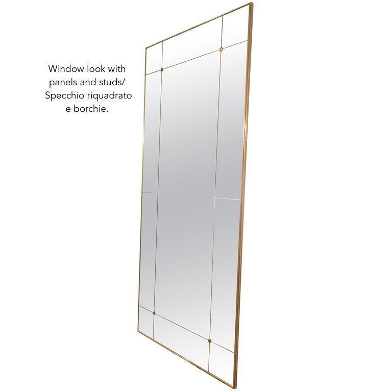 Customizable Octagonal Brass Frame Window Look Bronze Glass Mirror For Sale 4