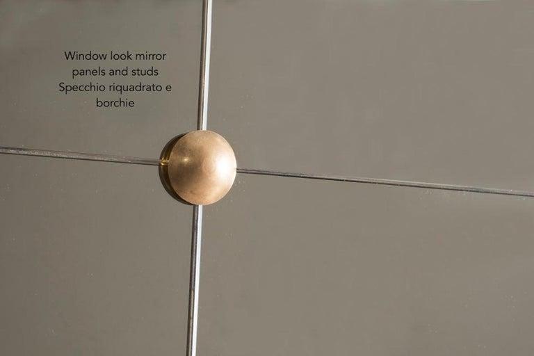 Customizable Octagonal Brass Frame Window Look Bronze Glass Mirror For Sale 5