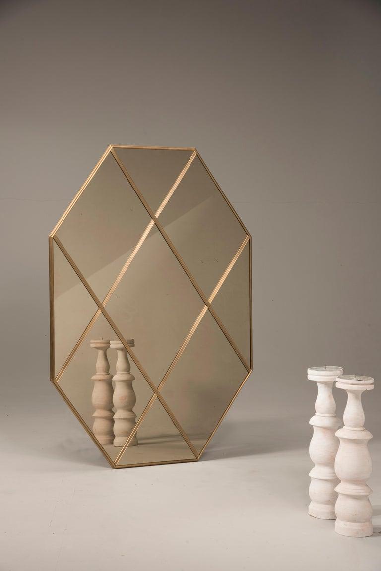 Art Deco Customizable Octagonal Brass Frame Window Look Bronze Glass Mirror For Sale
