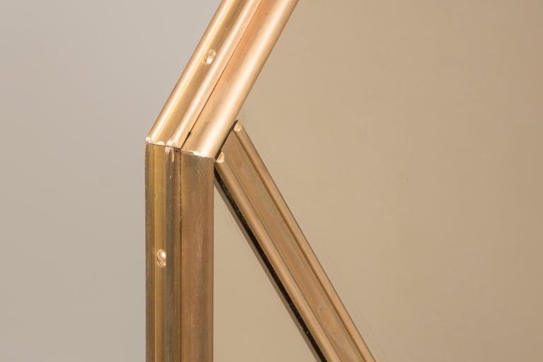 Italian Customizable Octagonal Brass Frame Window Look Bronze Glass Mirror For Sale