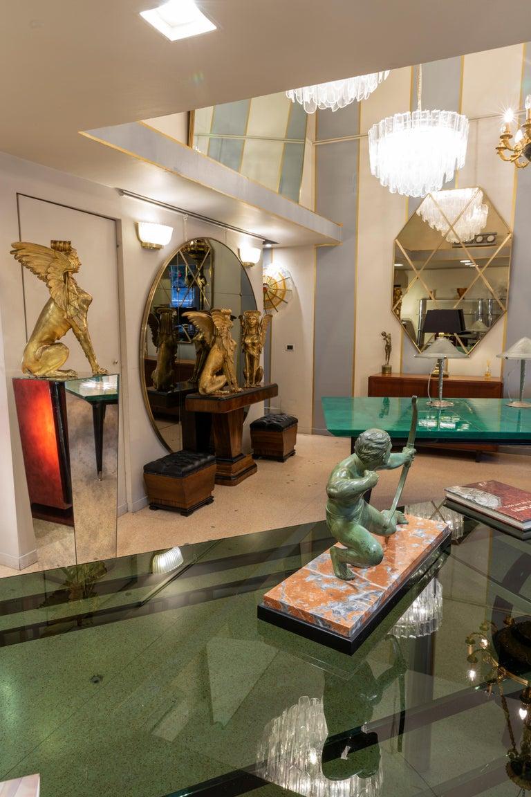 Contemporary Customizable Octagonal Brass Frame Window Look Bronze Glass Mirror For Sale