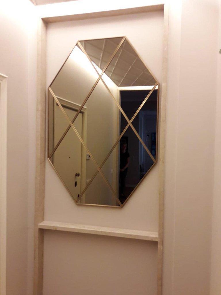Customizable Octagonal Brass Frame Window Look Bronze Glass Mirror For Sale 1