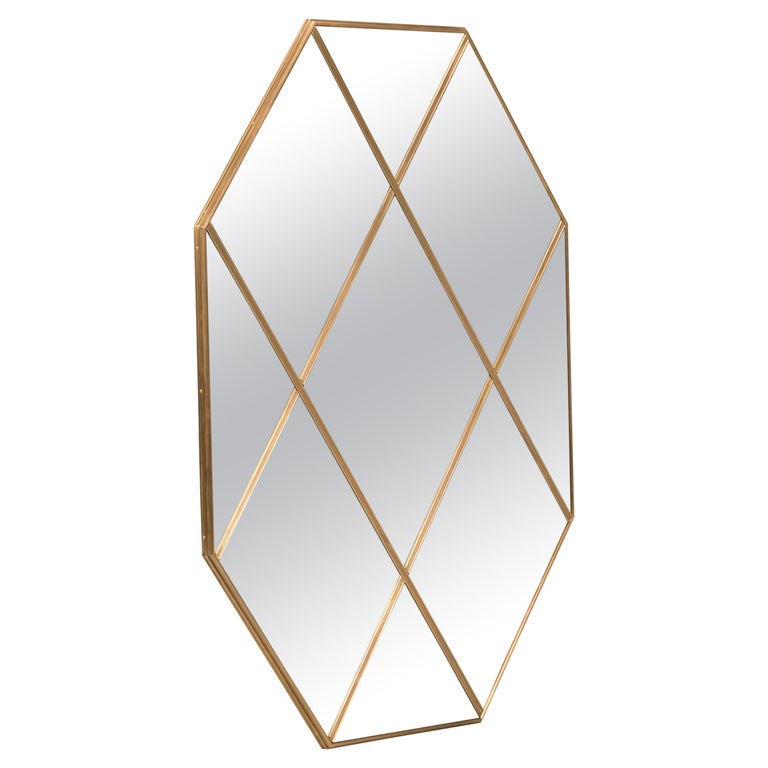 Customizable Octagonal Brass Frame Window Look Bronze Glass Mirror For Sale