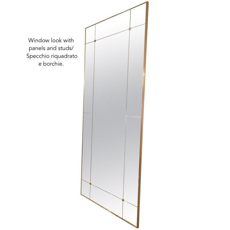 Customizable Octagonal Brass Frame Window Look Distressed Effect Glass Mirror For Sale 5