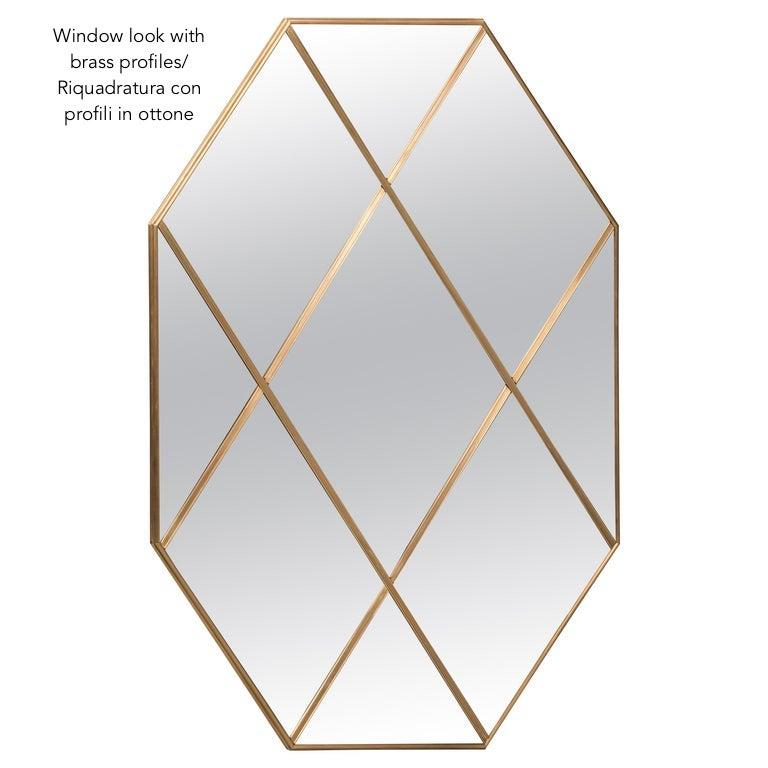Customizable Octagonal Brass Frame Window Look Distressed Effect Glass Mirror For Sale 8