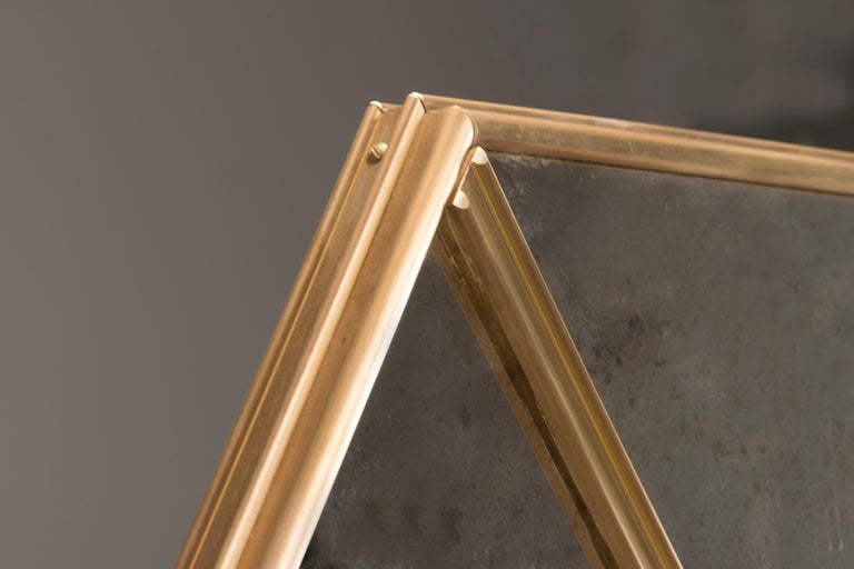 Customizable Octagonal Brass Frame Window Look Distressed Effect Glass Mirror In New Condition For Sale In Milano, IT