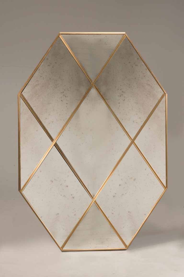 Contemporary Customizable Octagonal Brass Frame Window Look Distressed Effect Glass Mirror For Sale