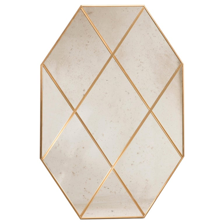 Customizable Octagonal Brass Frame Window Look Distressed Effect Glass Mirror For Sale