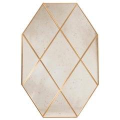 Customizable Octagonal Brass Frame Window Look Distressed Effect Glass Mirror