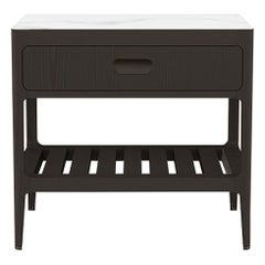 Customizable One Drawer Blackened Ash Nightstand by Munson Furniture