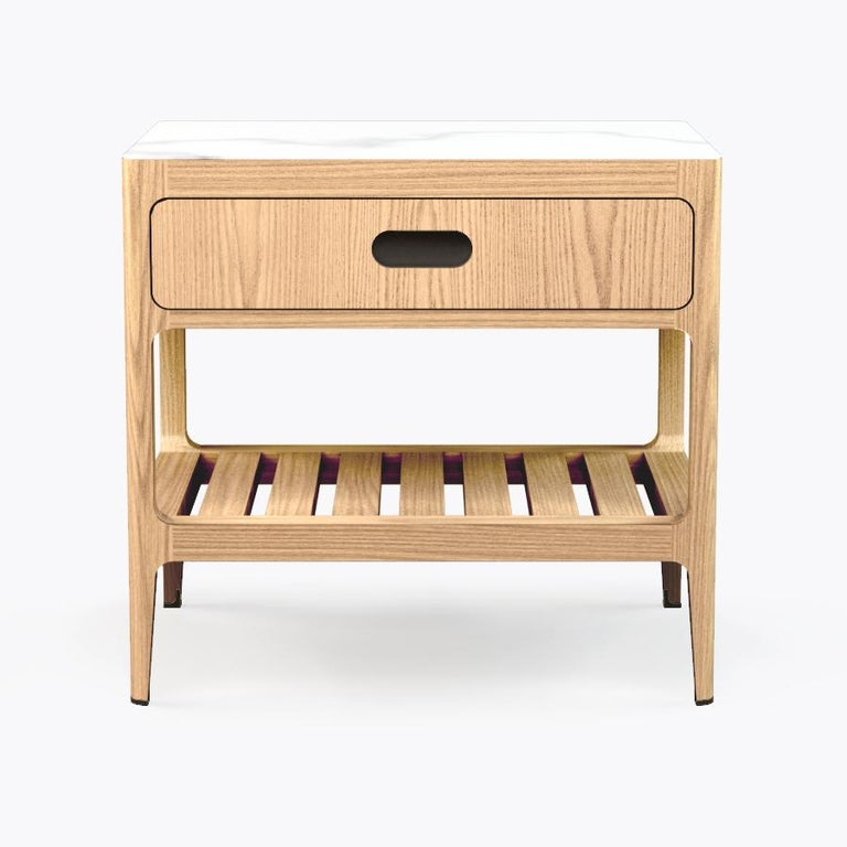 Customizable One Drawer Oak Nightstand with Blackened Brass by Munson Furniture In New Condition For Sale In Oakland, CA