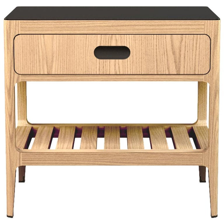 Customizable One Drawer Oak Nightstand with Blackened Brass by Munson Furniture For Sale