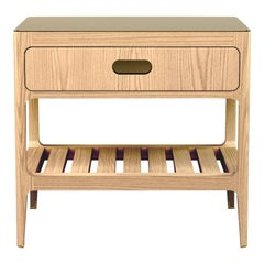 Customizable One-Drawer Oak Nightstand with Brass Top by Munson Furniture