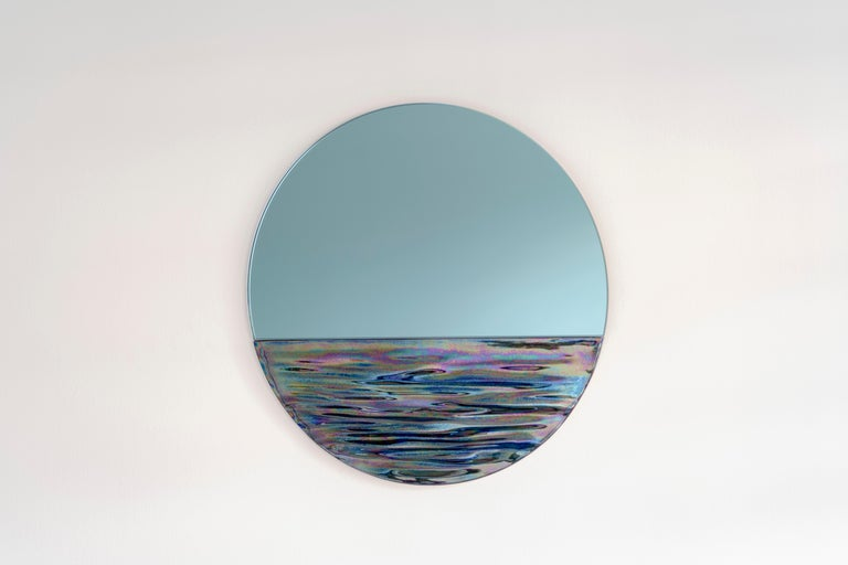 Italian Customizable Orizon Rounded Hand Glazed Ceramic Mirror in Iridescent Blue For Sale