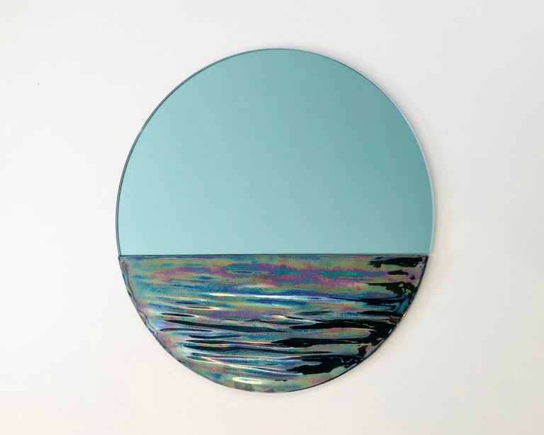 Customizable Orizon Rounded Hand Glazed Ceramic Mirror in Iridescent Blue In New Condition For Sale In Brooklyn, NY