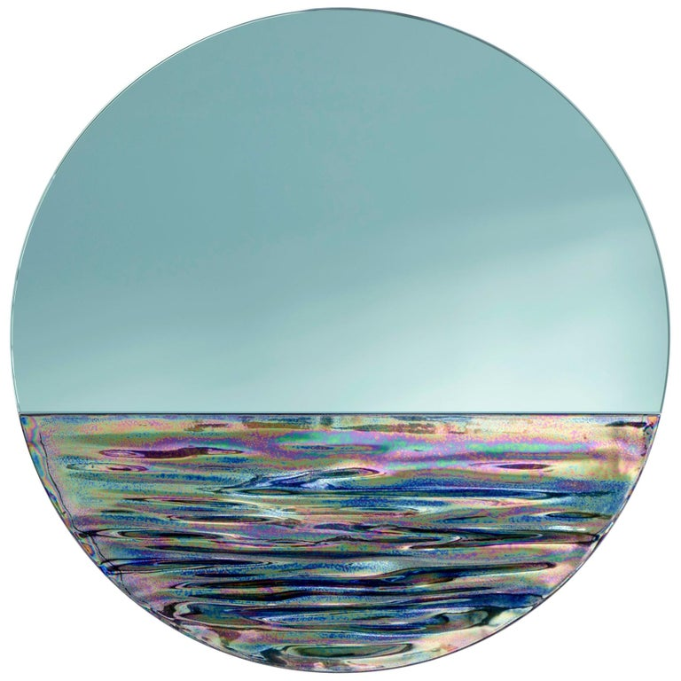 Customizable Orizon Rounded Hand Glazed Ceramic Mirror in Iridescent Blue For Sale
