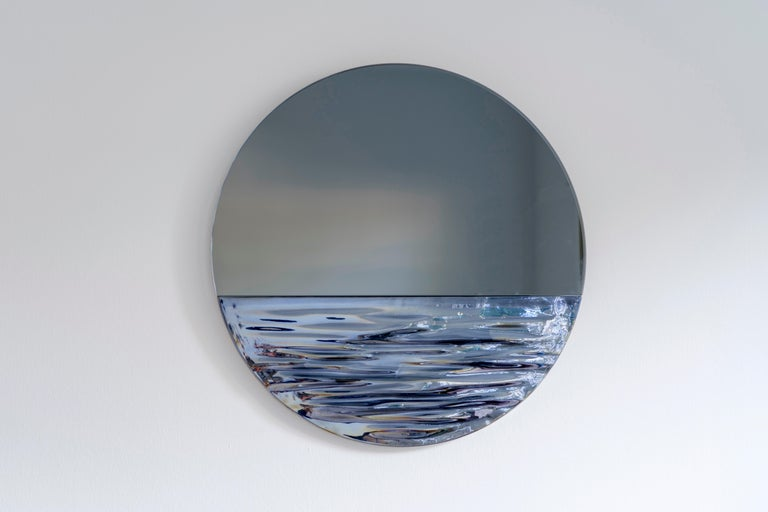 Modern Orizon Rounded Hand Glazed Ceramic Mirror in Moonlight Blue For Sale