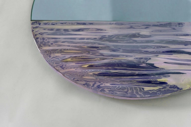Italian Orizon Rounded Hand Glazed Ceramic Mirror in Moonlight Blue For Sale