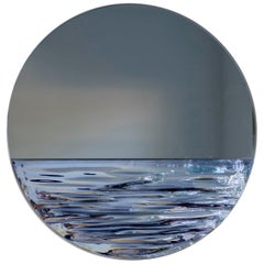 Customizable Orizon Rounded Hand Glazed Ceramic Mirror in Moonlight Blue